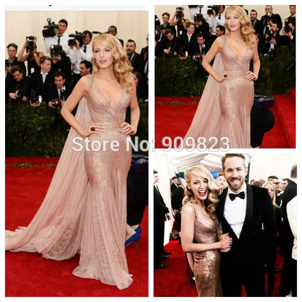 Aliexpress.com : buy blake lively tapete vermelho no pescoço v vestido plissado frisado brilhante piso natural comprimento com trem tule sereia vestidos de celebridades 2014 from reliable telha do tapete suppliers on my classic garden