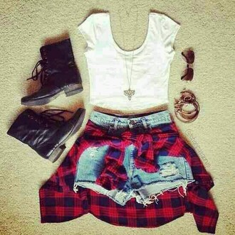 shorts white crop tops red flannel shirt