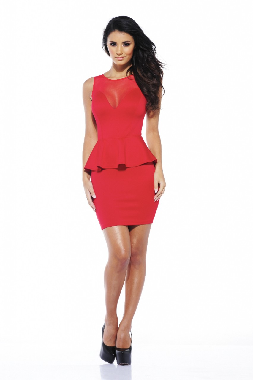 Party Dress - Red Peplum Dress with Sweetheart | UsTrendy