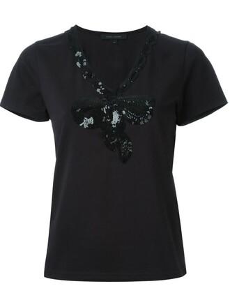 t-shirt shirt bow black top