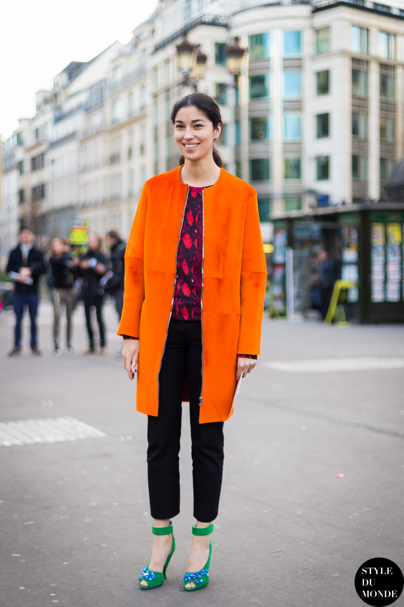 Orange coat - STYLE DU MONDE   Street Style Street Fashion Photos