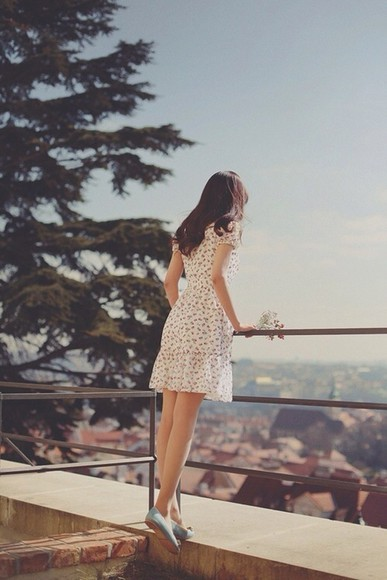 dress pretty flowy white dress patterned knee length shorts, fashion, floral, outfit, pretty, beautiful, love,