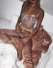 shirt,pants,lace,blouse,lace bralette,nude,lace lingerie,silk,top,pink top,silk pants,pink,bodysuit,bralette,lingerie,silk rose gold,bottoms,heels,sexy,rose gold,jewels,jewelry,high heels,cute outfits,cute top,cute high heels,tumblr outfit,pinterest,jacket,blush,pink silk pants,pink satin pants,satin