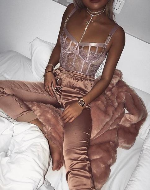 b9a36a91aa shirt pants lace blouse lace bralette nude lace lingerie silk top pink top  silk pants pink