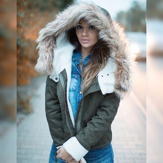 coat jacket parka green parka fur coat fur big coat hoodie hooded khaki parka fur jacket fall outfits winter coat winter outfits kylie jenner outfit made green army jacket