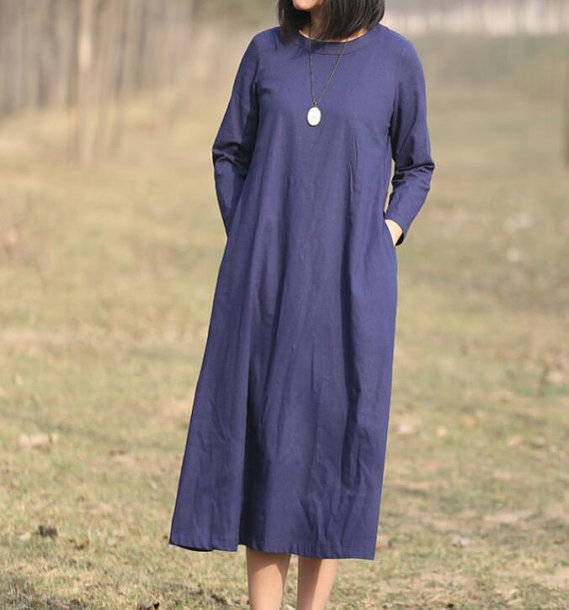 dress dark blue long dress