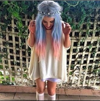 top white chiffon cotton grey undertop mid length sleeves floaty flower crown blue hair dip dye pink hair girly biker hipster