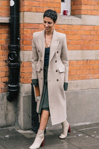 coat nude coat long coat green dress midi dress boots white boots dress ankle boots streetstyle