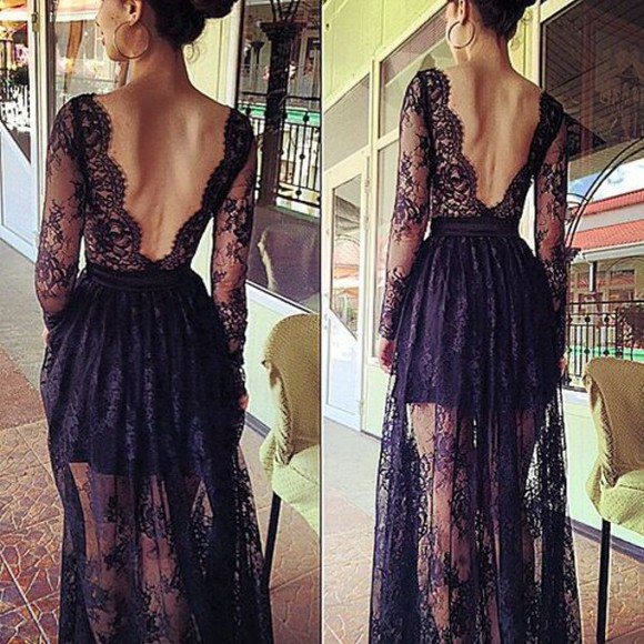 little black dress maxi dress lace dress gorgeous fabulous long sleeve dress opened back dress long dress black dresses black long prom dress black lace dress open dress knit dress