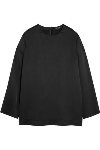 top black silk satin