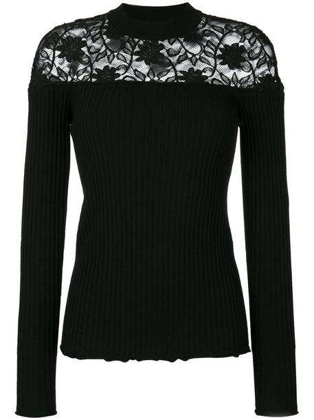 Sonia Rykiel jumper women lace cotton black wool sweater