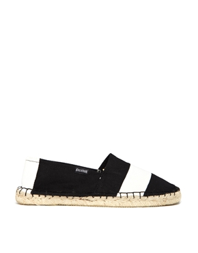 Soludos | Soludos Original Black/White Barca Stripe Espadrille Flat Shoes at ASOS