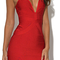 Plunge v neck midi bandage dress red