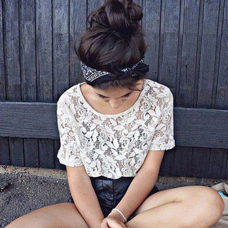 shirt top lace white black and white leather shorts chic cute ineed skirt t-shirt cream teenagers hipsta hipster summer lace top outfit bandana lace shirt blouse white t-shirt