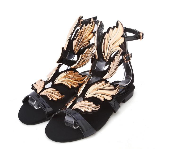 Cruel summer gold flame flat sandals – glamzelle