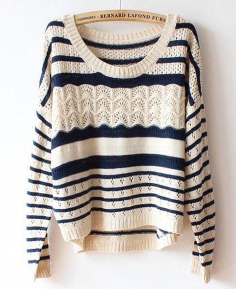sweater stripes blue white pullover