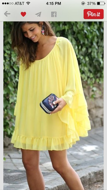 yellow flowy yellow yellow dress dress flowy spring bright summer flowy dress pinterest summer dress outfit pinterest outfit tan brunette