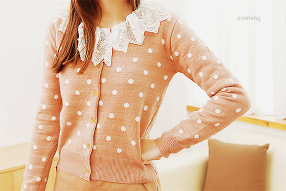 sweater amazing cute pink adorable polkadots lace pretty
