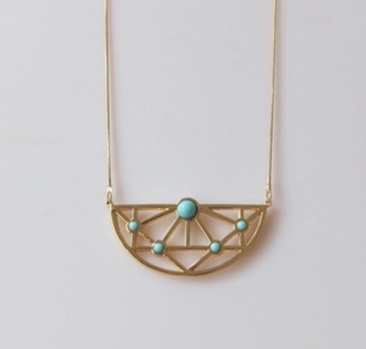 jewels geometric mint gold dress big necklace ketting style modern musthave