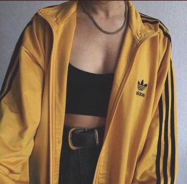 jacket yellow adidas adidas jacket adidas sweater black fall outfits