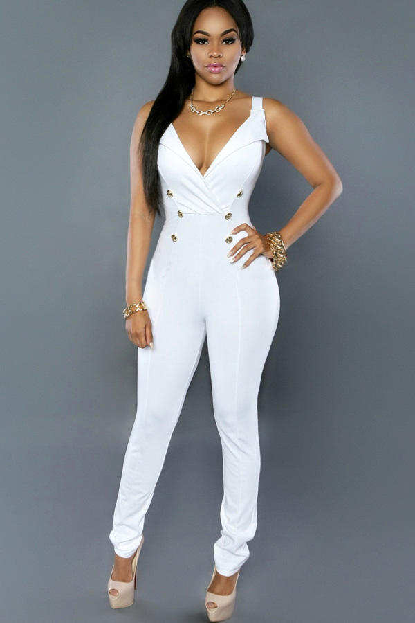 White V Neck Double Breasted Chic Jumpsuit