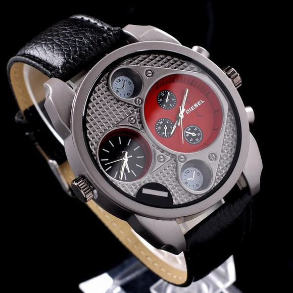 black diesel menswear jewels watch Watches menswear red wrist watch wristwatch