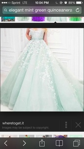 dress,lace,mint green ball gown