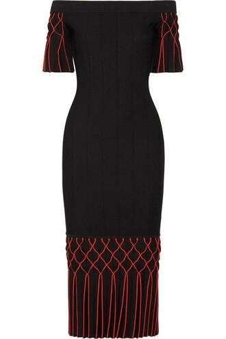 dress midi dress pleated knit midi black