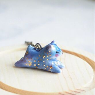 jewels porcelain gift ideas ceramic galaxy print animal cute handmade 4art art artist gold pendant necklace jewelry bear blue stars creative funny cool animals jewelrry studio cewemic polar bear teddy bear gemstone pendant animal print jewellery rings valentines day gift idea christmas