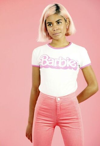 pants pink pants t-shirt white t-shirt barbie pink hair hairstyles