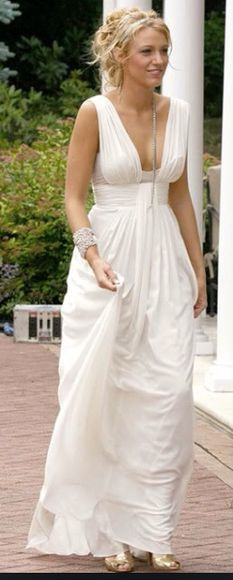 serena blake lively gossip girl serena van der woodsen dress white dress white party dresses grecian maxi sheath column