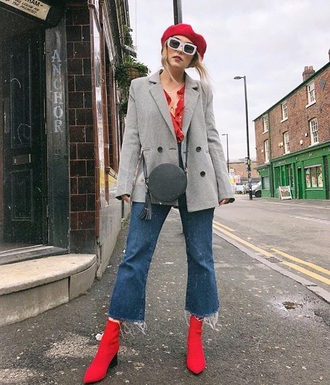hat beret red beret sunglasses white sunglasses cropped jeans blazer grey blazer boots red boots jeans kick flare blue jeans