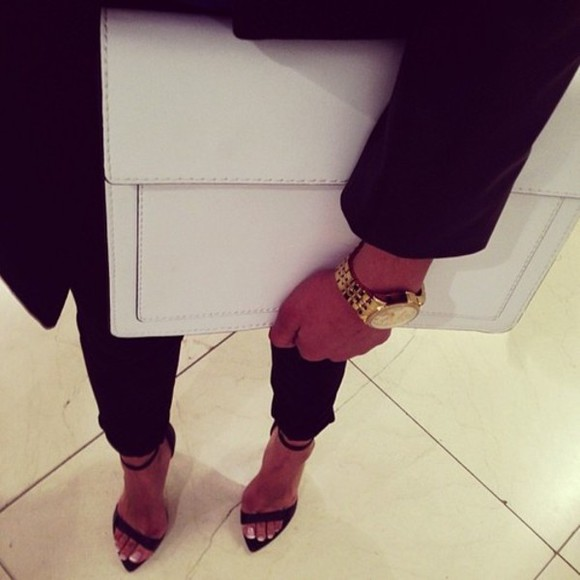 pants black pants bag white black watch instagram facebook heeled sandals black heels high heels gold coat nice fabulous tumblr luxurious white clutch wheretogetit? jewels