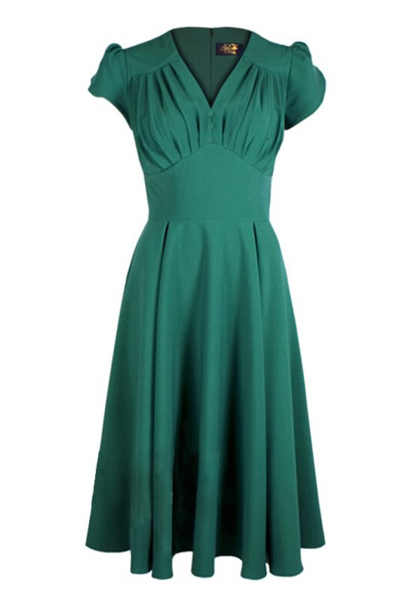 40's 40s vintage retro dess green dress housewife long dress party dress swing dress rockabilly