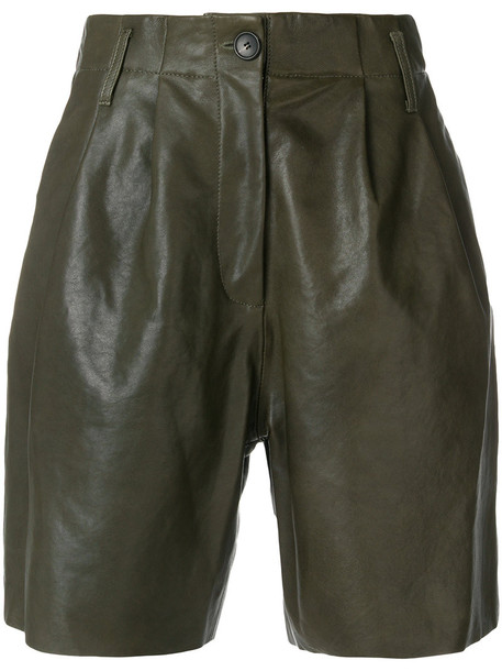 Forte Forte shorts pleated women leather cotton green