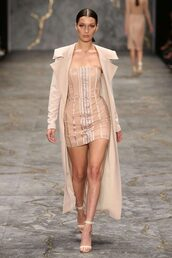 dress,nude,nude dress,strapless,mini dress,bustier dress,sandals,bella hadid,fashion week 2016,coat,trench coat,misha collection