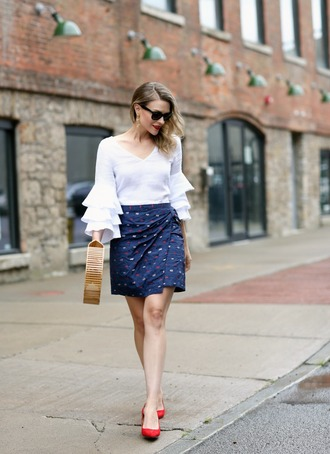 pennypincherfashion blogger blouse skirt shoes bag jewels red heels bell sleeves blue skirt cult gaia bag summer outfits