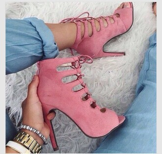 shoes the fashion bible pink shoes peep toe boots lace up heels pink heels suede shoes party shoes strappy shoes