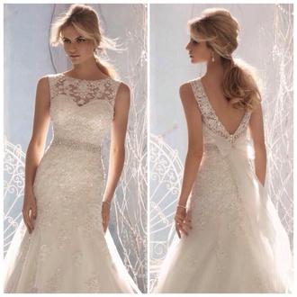 dress lace wedding dress mermaid wedding dress crystal earrings bow back dress beaded wedding dress sparkly dress belt gorgeous wedding dress