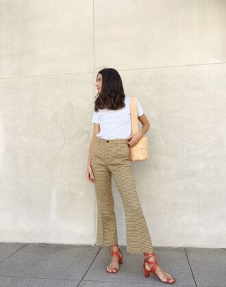 t-shirt tumblr white t-shirt pants cropped pants flare pants bag shoulder bag sandals mid heel sandals shoes