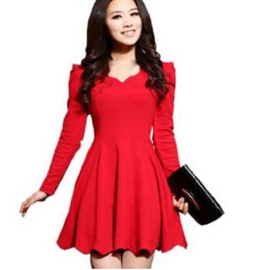 Fancy Dress Store Women&39s V-neck Base Short Skirt Long Sleeve ...