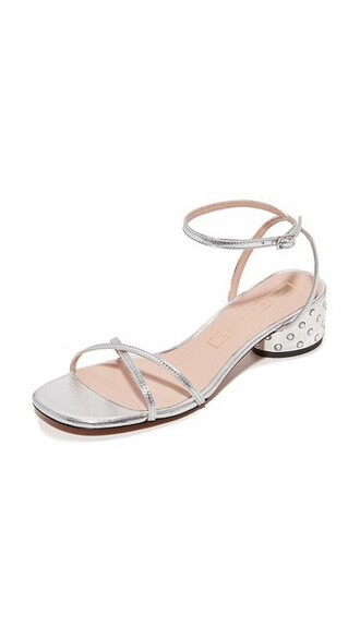 ankle strap sandals silver shoes