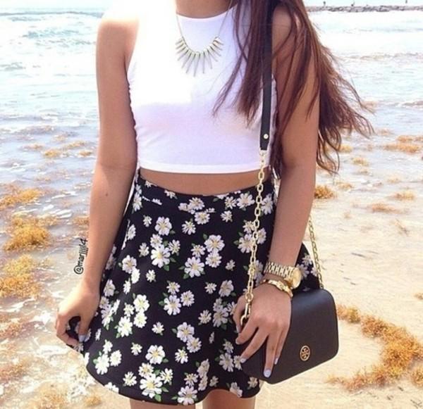 skirt flowery skirt