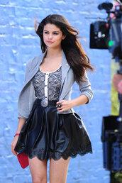 dress,selena gomez,leather,skirt,tank top,jacket