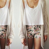 shorts,tank top,cardigan,floral,denim,summer,flowered shorts,top,summer outfits,necklace,jacket,jewels,fashion,vintage,winter outfits,winter sweater,fall outfits,fall sweater,sweater,beige,cute,tumblr,tumblr outfit,tumblr girl,hipster,shirt,white long cute,white,nude,knitted cardigan