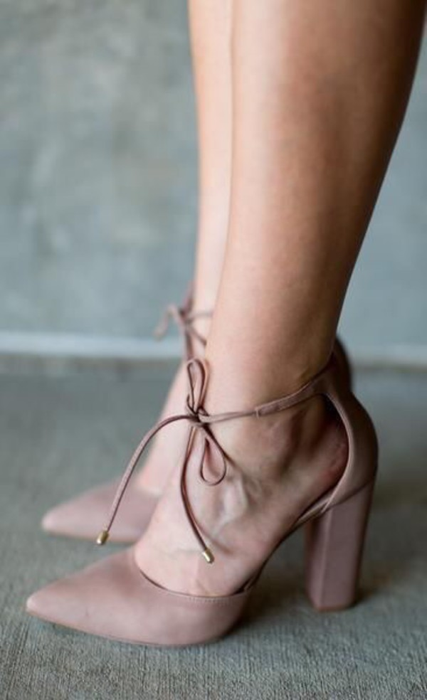 8a7b4731779 Dani Dusty Rose Suede Lace-Up Heels
