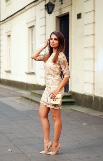 a piece of anna blogger dress lace dress all nude everything nude high heels
