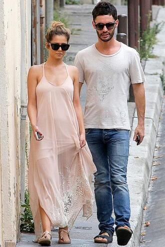 dress cheryl cole sandals sunglasses summer outfits maxi dress shoes