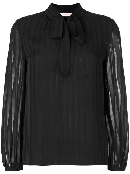 Tory Burch blouse bow women black silk top