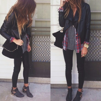 shoes boots ankle boots jacket shorts blouse cut out ankle boots buckles gold cute as fuck. leather jacket